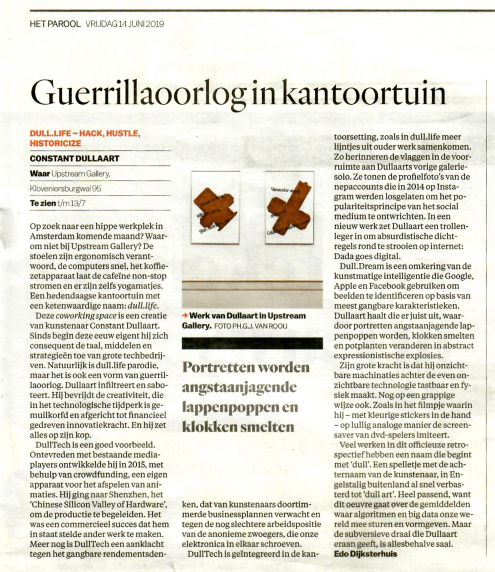 Review (NL / EN) of dull.life by Constant Dullaart in Het Parool