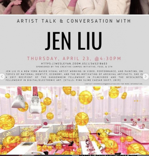 Jen Liu artist talk and conversation 23 april, 4.30 (EST)