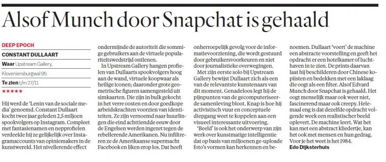 Review (NL) of 'Deep Epoch' by Constant Dullaart in Parool